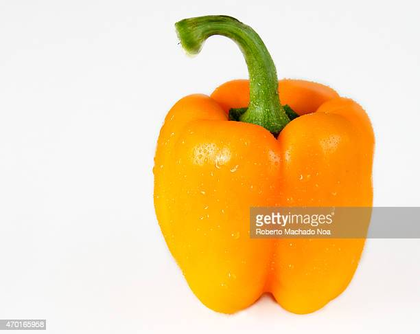 Beautiful orange bell pepper with water drpplets in white background also known as sweet pepper or a pepper and capsicum is a cultivar group of the...