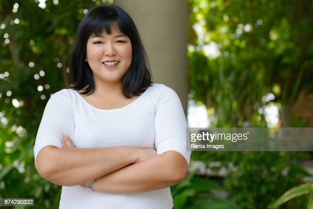Beautiful Overweight Asian Woman Getting Away From It All With Nature