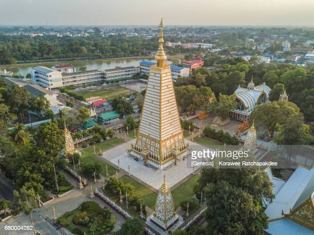 A beautiful pagoda from the high angle view