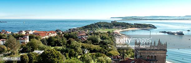 CONTENT] Beautiful panorama of the Peninsula of Magdalena with the beach and the Magdalena Palace to the fund Santander Spain