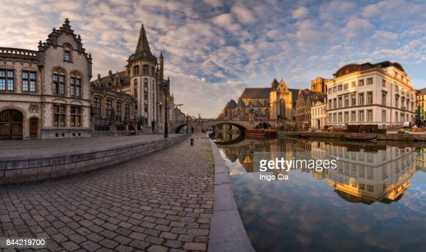 Beautiful panoramic at sunrise on Ghent