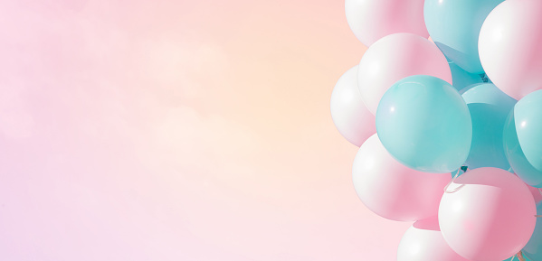 Beautiful panoramic background with pink and blue balloons 1004961296