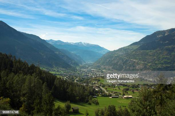 Beautiful panoramic landscape view over mountains in Switzerland
