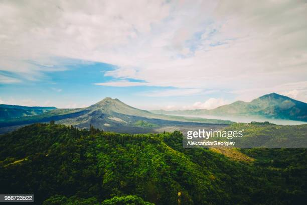 beautiful panoramic view of gunung batur vlcano in bali - kintamani district stock pictures, royalty-free photos & images