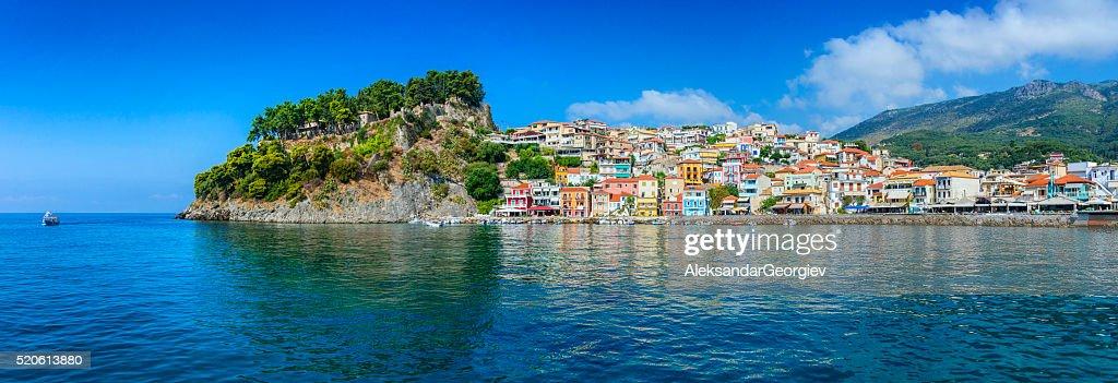 Beautiful Panoramic View of Parga Harbour, Greece : Stock Photo