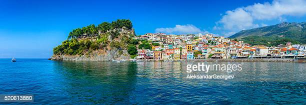 beautiful panoramic view of parga harbour, greece - greece stock pictures, royalty-free photos & images