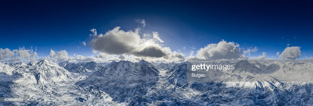 Beautiful Panoramic View Of Snowy Mountains : ストックフォト