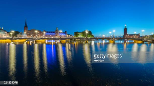 Beautiful Panoramic view of Stockholm in Sweden at night
