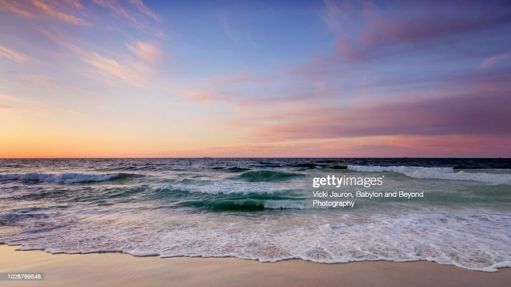 Beautiful Pastel-Colored Sunrise at Jones Beach, Long Island : Stock Photo