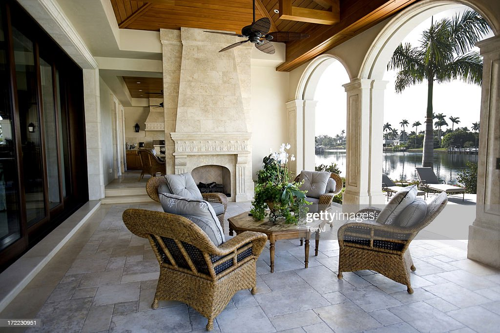 Beautiful Patio Furniture at Estate Home Overlooking Bay : Stock Photo