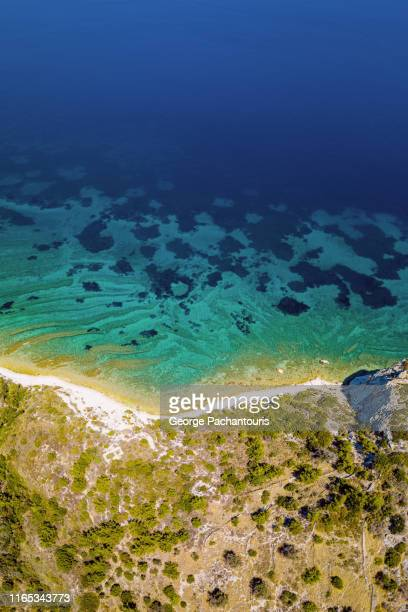 beautiful patterns on the sea near the shore - aegean sea stock pictures, royalty-free photos & images
