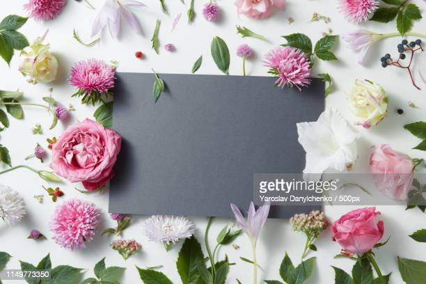 beautiful pink and white flowers with empty notebook - wedding background stock pictures, royalty-free photos & images