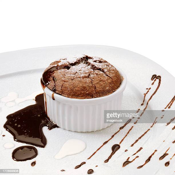 Beautiful plate setting of a chocolate souffle