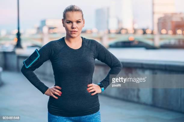 Beautiful plus size sportswoman