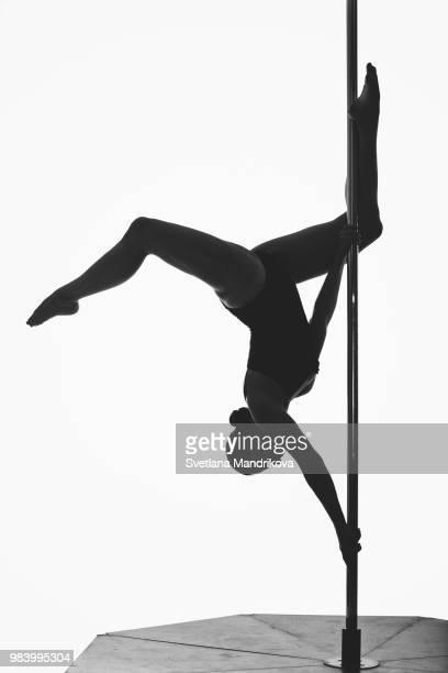 beautiful pole dancer girl silhouette