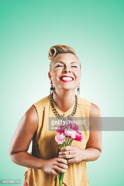 Beautiful portrit of woman with flowers