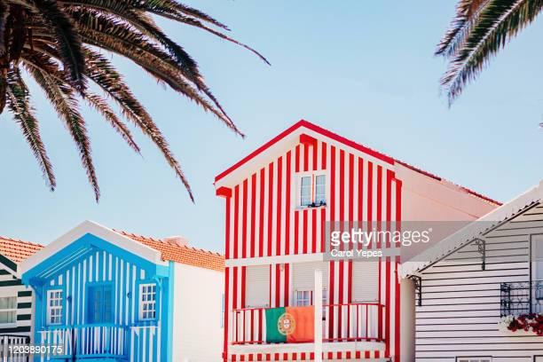beautiful  portuguese colorful buildings in aveiro,costa nova,portugal - アヴェイロ県 ストックフォトと画像