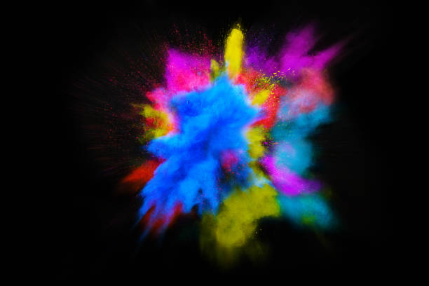 beautiful powder explosion in all directions with vivid colors and black background. - 彩色影像 個照片及圖片檔