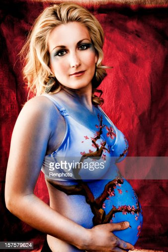 Beautiful Pregnant Woman Cherry Blossom Body Paint Stock -3811