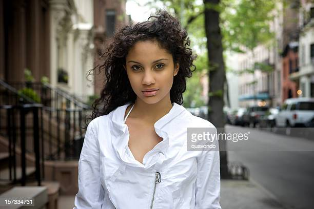 beautiful puerto rican young woman portrait, new york city - lust girl stock photos and pictures