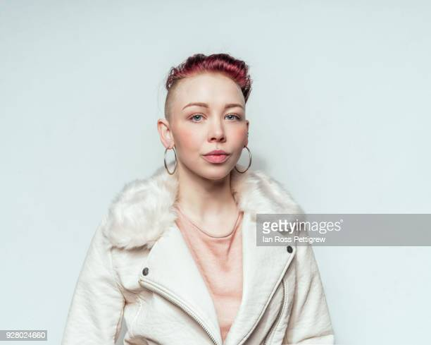 beautiful punk woman in white leather jacket - music style stock pictures, royalty-free photos & images