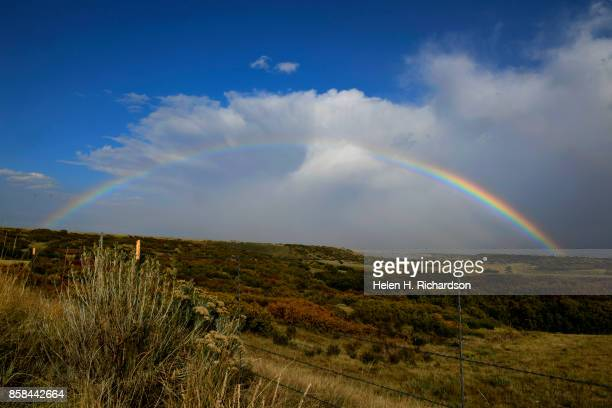 SPRINGS CO OCTOBER 5 A beautiful rainbow forms over the land after a storm blew through east of Castle Pines on October 5 2017 near Castle Rock...
