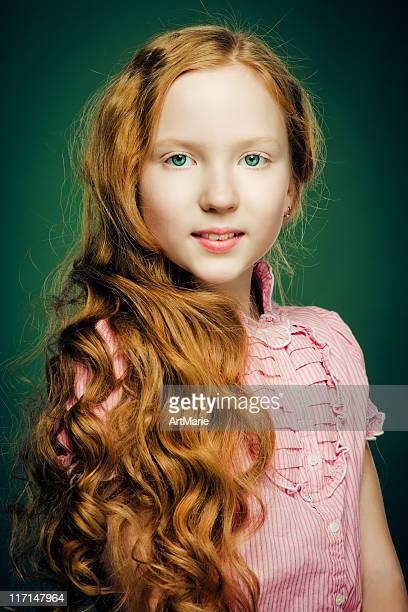 beautiful red-haired girl - young tiny girls stock photos and pictures