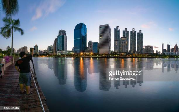 Beautiful reflection of group building constuction of business center and luxury hotel in Bangkok,Thailand