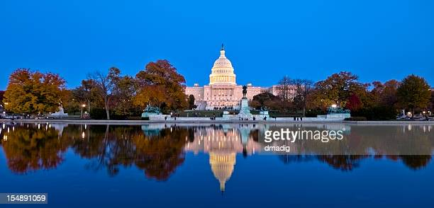 A beautiful reflection of United States Capitol at dawn
