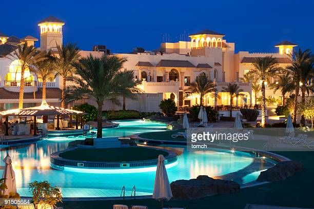 Beautiful Resort Pool on evening.