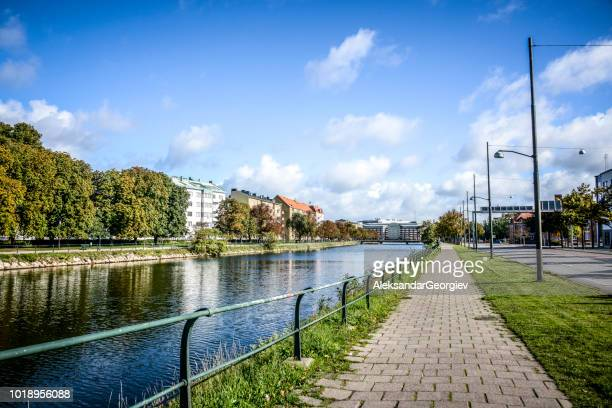 beautiful river in the center of malmo, sweden - malmo stock pictures, royalty-free photos & images
