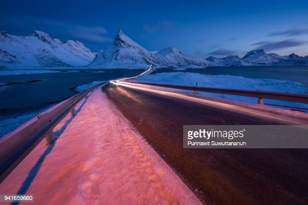 Beautiful road to Fradvang with Volanstind mountain in background, Lofoten archipelago, Norway