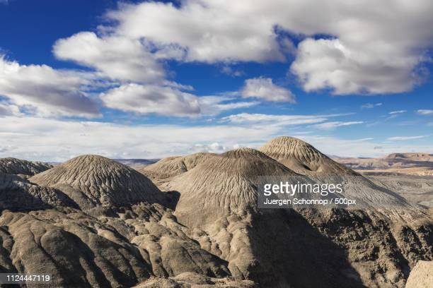 beautiful rock formations near el calafate - petrified wood stock pictures, royalty-free photos & images