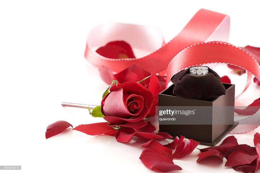 Beautiful Rose, Petals, Ribbon and Engagement Ring on White, Copyspace : Stock Photo