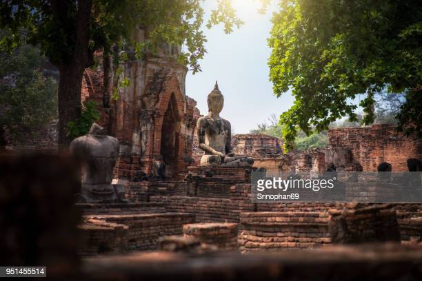 Beautiful Ruins and Antiques at the Ayutthaya Historical Park, Thailand.