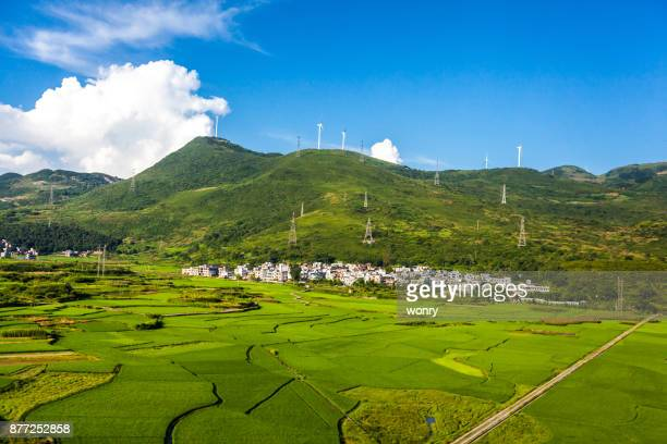 Beautiful rural landscape viewed from high speed train in South China