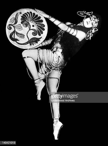 Beautiful Russian dancer Eugenie Nikitine dancing one of her own creations and she is scoring a tremendous hit in Italy December 3 1927