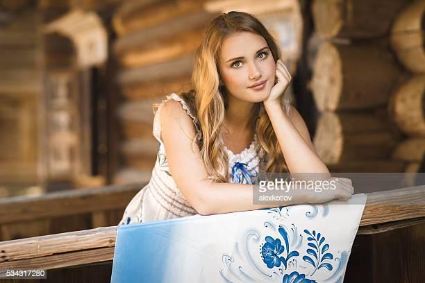 Beautiful russian woman with shawl