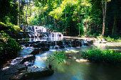 Beautiful Sam Lan waterfall in the forest, Khao Sam Lan National Park Thailand