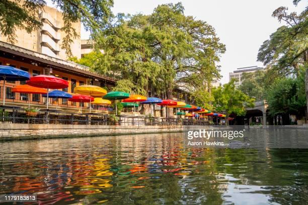 beautiful san antonio riverwalk in early fall - san antonio river walk stock pictures, royalty-free photos & images