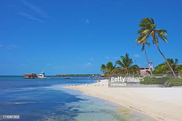 A beautiful scene of a beach resort on the ocean