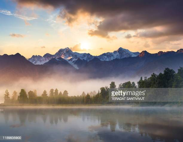 beautiful scenery landscape of the matheson lake fox glacier town southern alps mountain valleys new zealand - landscape scenery ストックフォトと画像