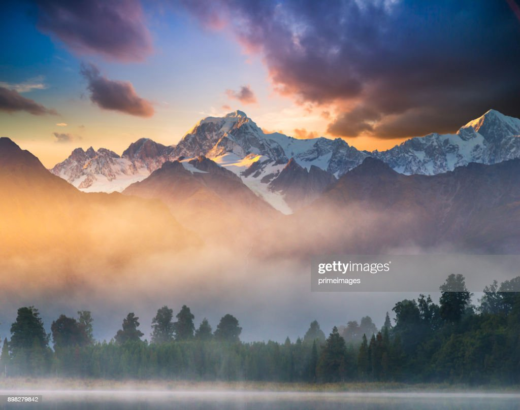 Beautiful scenery landscape of the Matheson Lake Fox Glacier town Southern Alps Mountain Valleys New Zealand : Stock Photo