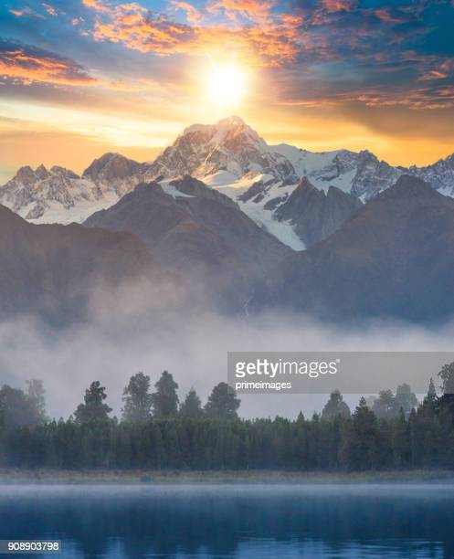 Beautiful scenery landscape of the Matheson Lake Fox Glacier town Southern Alps Mountain Valleys New Zealand