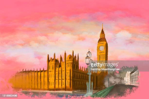 beautiful scenery of big ben or great bell which is the important landmark of london shows the painting of the big ben and palace of westminster under the beautiful sky located in uk - royal tour stock pictures, royalty-free photos & images