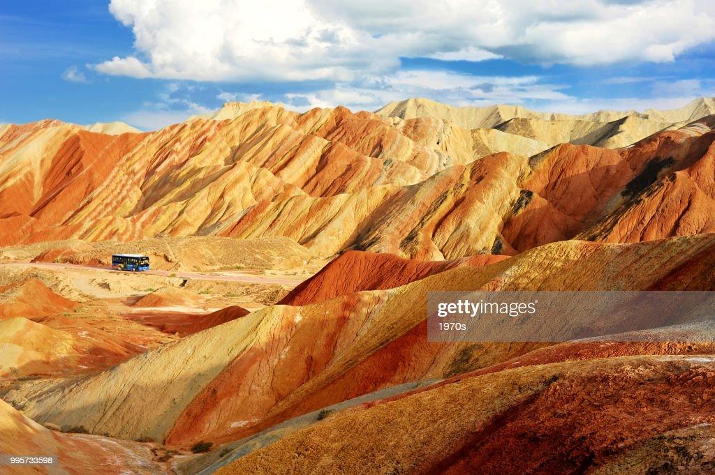ジオパークの張掖市、甘粛省、中国国家 Danxia 地形の美しい風景です。 : ストックフォト