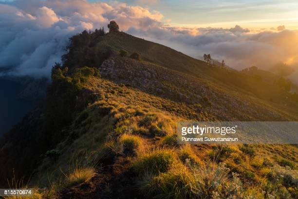 Beautiful scenery of Senaru crater at sunset, Rinjani volcano mountain, Lombok island, Indonesia