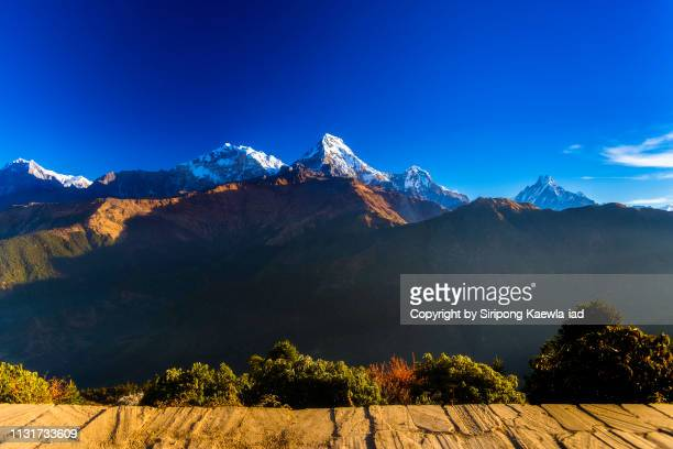 Beautiful scenery of the Annapurna massif from Poon Hill viewpoint, Nepal.