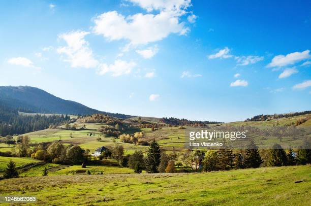 beautiful scenic view of high mountain valley with green meadow - ukraine stock pictures, royalty-free photos & images