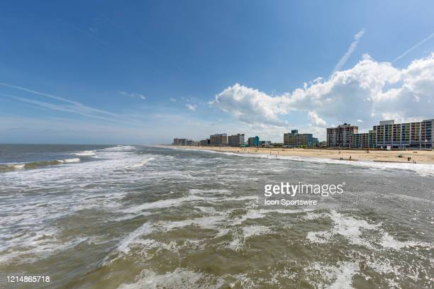 A beautiful section of the Virginia Beach oceanfront has a sparse crowd today for the start of Memorial Day weekend on May 22 in Virginia Beach VA...